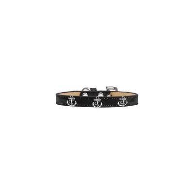 Silver Anchor Widget Dog Collar Black Ice Cream Size 10