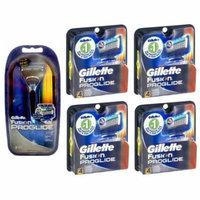 Gillette Fusion Proglide Razor + 2 Refill Blades w/ Gillette Fusion Proglide Refill Cartridges 4 Ct (Pack of 4) + Old Spice Deadlock Spiking Glue, Travel Size, .84 Oz