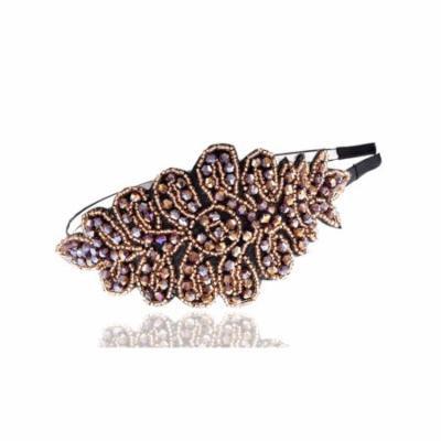 Princess Subtle Peach Coral Flourish Leaf Crystal Bead Big Fashion Hair Headband