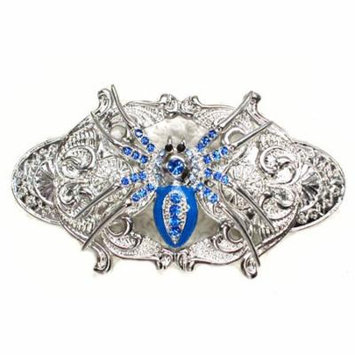Faship Blue Rhinestone Crystal Spider Barrette For Halloween