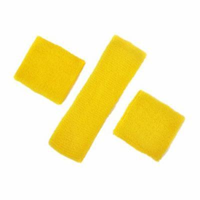 GOGO Thick Solid Color Sweatband Set (1 Headband + 2 Wristbands)-Yellow