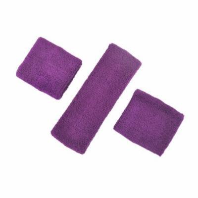 GOGO Thick Solid Color Sweatband Set (1 Headband + 2 Wristbands)-Purple