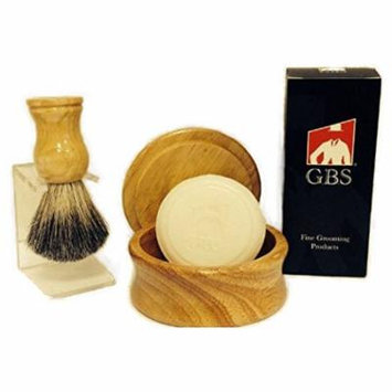 Men's Grooming Set with Wood Mug Shaving Bowl, 100% Pure Badger, Brush Stand and 97% All Natural Gbs Ocean Driftwood Shave Soap