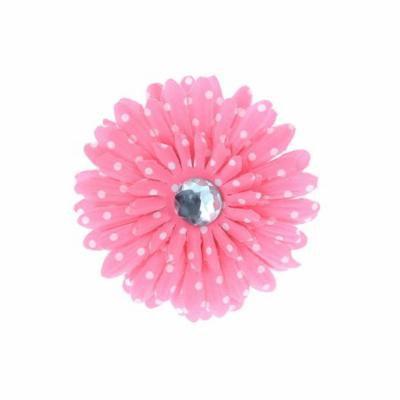 Hair Accessory Pink Polka Dot Rhinestone Daisy Flower Hairclip (Set of 4)