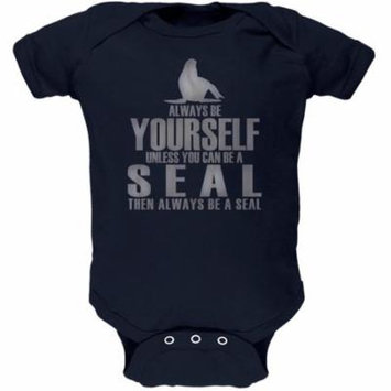 Always Be Yourself Seal Navy Soft Baby One Piece