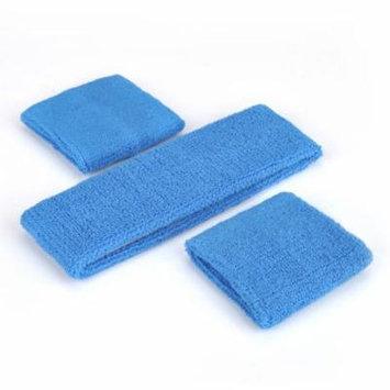 GOGO Thick Solid Color Sweatband Set (1 Headband + 2 Wristbands), Price for ONE DOZEN-cambridgeblue