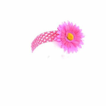 Hair Accessory Lavender and Hot Pink Two-Tone Daisy Flower Crochet Headband (Set of 6)