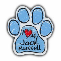 Blue I Love My Jack Russel Scribble Paw Magnet Dog Cat 5.5