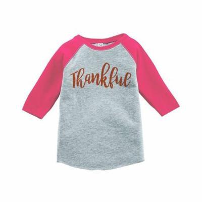 Custom Party Shop Baby's Thankful Thanksgiving Pink Raglan - 3T