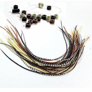 Sexy Sparkles Feather Hair Extensions, 100% Real Rooster Feathers, Long Natural Colors, 20 Feathers with Bonus Micro Beads and Loop Tool Kit