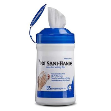 Sani-Hands Disinfecting Hand Wipe, Sanitizing Skin Wipe, PDI P13472 - 135 Count Canister