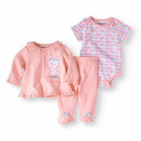 Newborn Baby Girl Knit Shirt, Knit Creeper And Knit Footed Pant Set