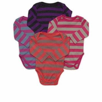 Leveret 4 Pack Long Sleeve Bodysuit 100% Cotton Stripes 3-6 Months Multi 4
