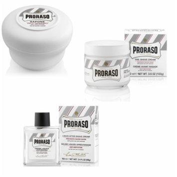 Proraso for Sensitive Skin Set: Pre-shave Cream 3.6oz + Shave Soap 5.2oz + Aftershave Balm 3.4oz + Old Spice Deadlock Spiking Glue, Travel Size, .84 Oz
