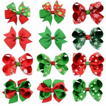 12 Pieces Girl Christmas Holiday Gift Snowflake Ribbon Hair Bows Clip Girl Hairpin