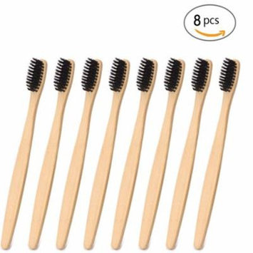 Genkent Natural Bamboo Toothbrush Made with Bamboo Charcoal Infused Bristles (8 counts, Black)