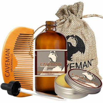 Caveman 2oz Beard Oil, 2oz Beard Balm, Custom Wooden Comb, Caveman Bag - Scent: Virgin Patchouli