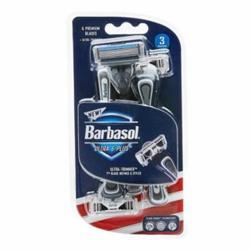 Barbasol Ultra 6 Plus Disposable Razor, 3 Ea , 2 Pack