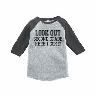 Custom Party Shop Kids Look Out 2nd Grade Grey Baseball Tee - 3T