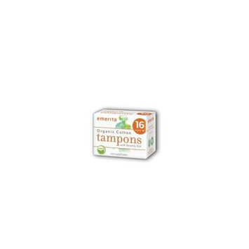 Organic Cotton Super Plus Non-Applicator Tampons Emerita 16 ct Box
