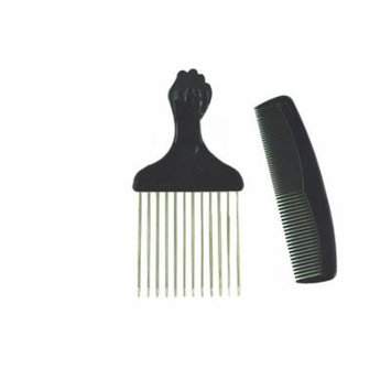 Afro Hair Pick w/ Black Fist and Comb Set- Metal African American Comb, Metal Pick By Titan by 3rd Power Outlet