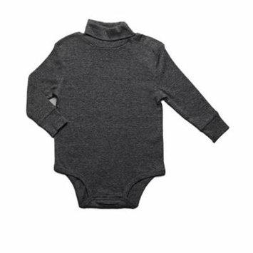 Leveret Solid Turtleneck Bodysuit 100% Cotton (18 Months, Dark Grey)