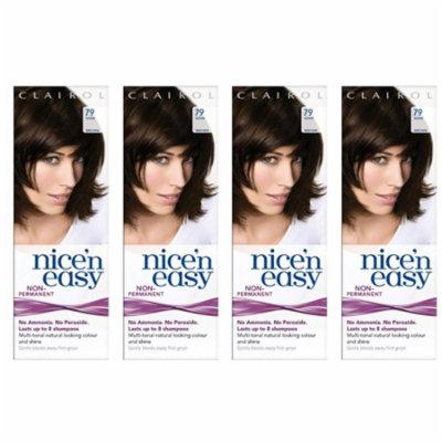 Clairol Nice N' Easy Hair Color #79, Dark Brown (Pack of 4) Uk Loving Care + Scunci Black Roller Pins, 18 Pcs