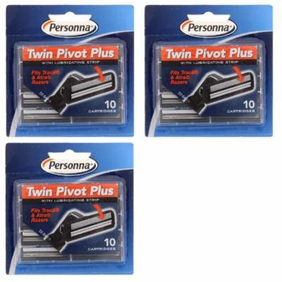 Personna Twin Pivot Plus Refill Blade Cartridges w/ Lubricating Strip for Atra & Trac II Razors 10 ct. (Pack of 3) + 3 Count Eyebrow Trimmer