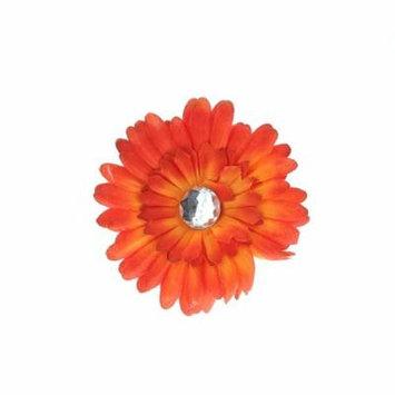 Hair Accessory Orange Ombre Rhinestone Daisy Flower Hairclip (Set of 4)