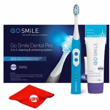 Go Smile At Home Teeth Whitening Kit UV Sonic Toothbrush Dental Care System (Aqua Blue)