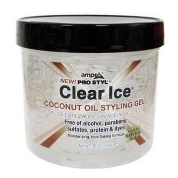 Ampro Pro Styl Clear Ice Coconut Oil Hair Styling Gel, 32 Oz, 6 Pack