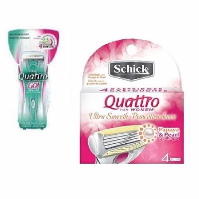 Schick Quattro for Woman GO Razor Handle + Schick Quattro for Women Razor Refill Blade Cartridges, Ultra Smooth, 4 Ct. + Schick Slim Twin ST for Dry Skin