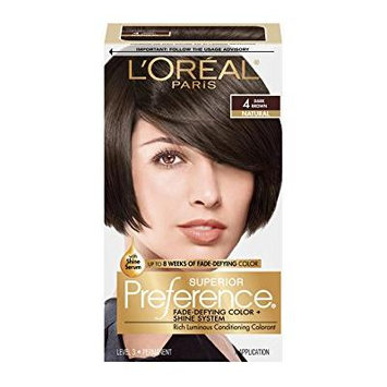 L'Oreal Paris Superior Preference Permanent Hair Color, Dark Brown 4 1.0 ea(pack of 3)
