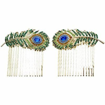 Faship Peacock Feather Hair Combs 2 Pieces One Pair