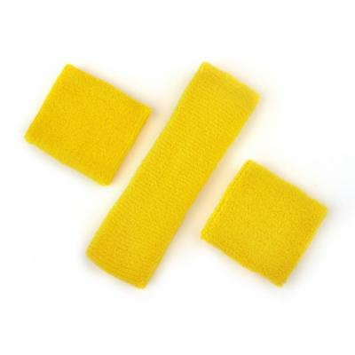 GOGO Thick Solid Color Sweatband Set (1 Headband + 2 Wristbands), Price for ONE DOZEN-Yellow