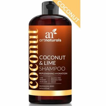 artnaturals Coconut and Lime Daily Shampoo – 16 Fl Oz – Replenishing Hydration – Deep Moisturizing For All Hair Types – Sulfate-Free, Paraben-Free and Vegan – Coconut, Lime, Aloe Vera and Rosehip