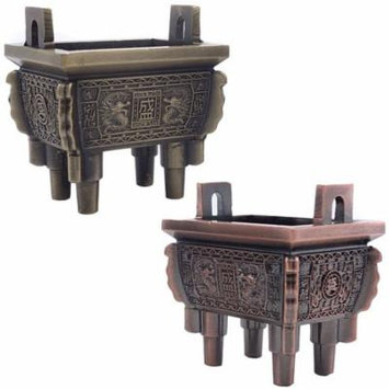 TrendBox Set of 2 - Mini Vintage Design Ding Sheng Bronze Tripod Incense Cone Coil Stick Burner Holder Ash Catcher Chinese Traditional Style Buddhist Washable
