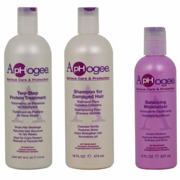 Aphogee Two Step Protein Treatment + Shampoo For Damaged Hair 16oz + Balancing Moisturizer 8oz