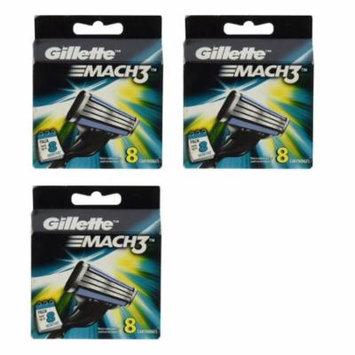 Gillette Mach3 Refill Cartridges, 8 Count (Pack of 3) + Scunci Black Roller Pins, 18 Pcs