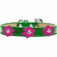 Metallic Flower Ice Cream Collar Emerald Green With Metallic Pink Flowers Size 14