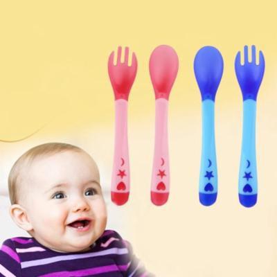 Temperature Sensing Feeding Flatware Tablewar Baby Infant Spoon & Fork Set
