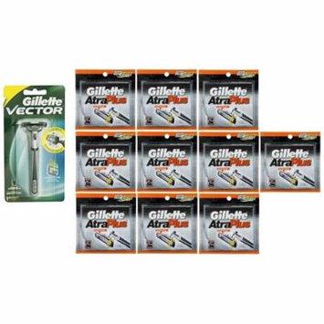 Vector Plus Razor Handle + Atra Plus Refill Razor Blades 10 ct. (Pack of 10) + Schick Slim Twin ST for Sensitive Skin