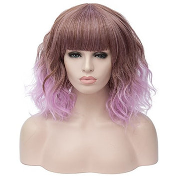Max beauty Cosplay Women Short Bob Fluffy Hair Full Wigs Curly Wave Costume Wigs Multi Color Free Cap