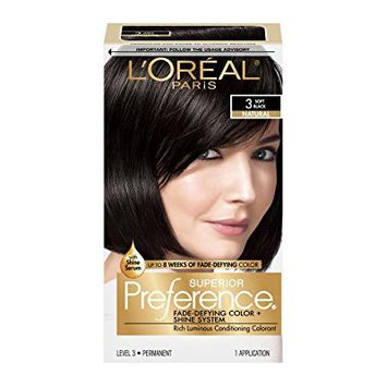 L'Oreal Paris Superior Preference Permanent Hair Color, Soft Black 3 1.0 ea(pack of 3)