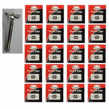 Double Edge Safety Razor + Personna Double Edge Stainless Steel Refill Blades, 5 ct. (Pack of 20) + Scunci Black Roller Pins, 18 Pcs