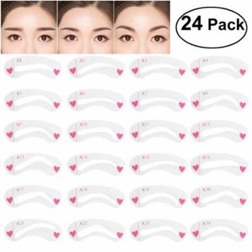 NUOLUX 24pcs Eyebrow Stencil Set Diverse Shapes Plastic Eye Brow Shaping Template Stencils Kit for Makeup