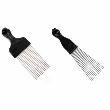 Afro Pick w/ Black Fist - Metal African American Hair Comb Combo, Untangles By Titan by 3rd Power Outlet