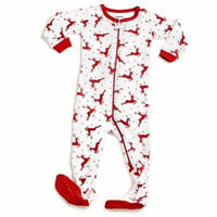 Leveret White Reindeer Footed Pajama Pajama Sleeper 100% Cotton 12-18 Months