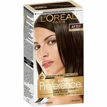 L'Oreal Paris Superior Preference Permanent Hair Color, Dark Ash Brown 4A 1.0 ea(pack of 3)