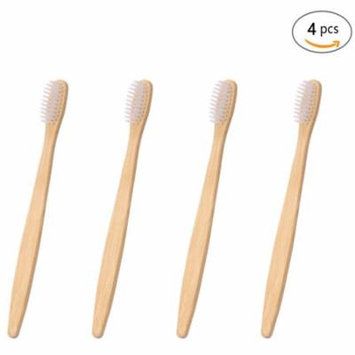Genkent 4 Counts Bamboo Toothbrush Natural Wooden ECO Friendly Toothbrush Made with Bamboo Charcoal Infused Soft Bristles(White)